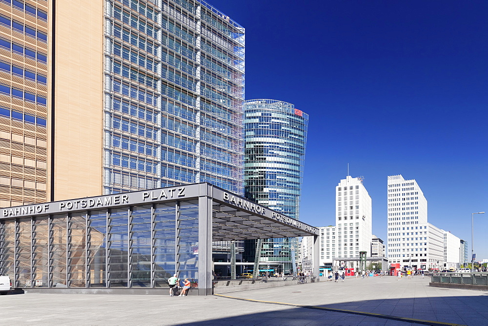 Potsdamer Platz Square with DB Tower, Berlin Mitte, Berlin, Germany, Europe