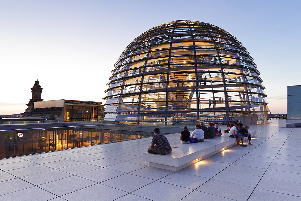 The Dome by Norman Foster, Reichstag Parliament Building at sunset, Mitte, Berlin, Germany, Europe - 1160-3237