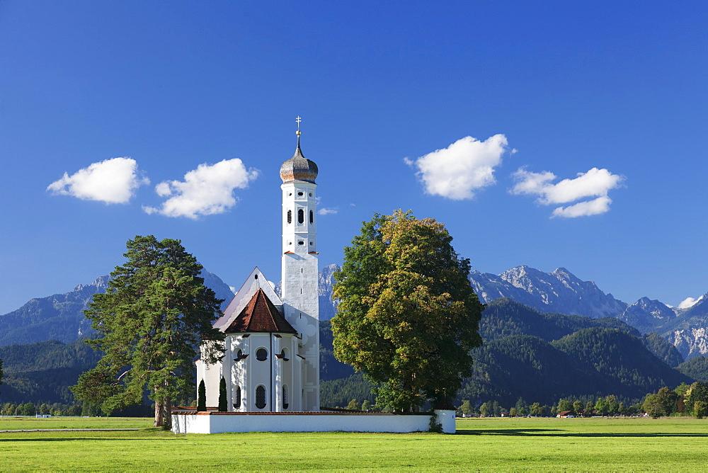 Pilgrim church St.Coloman, Schwangau, Allgaeu, Allgaeu Alps, Bavaria, Germany
