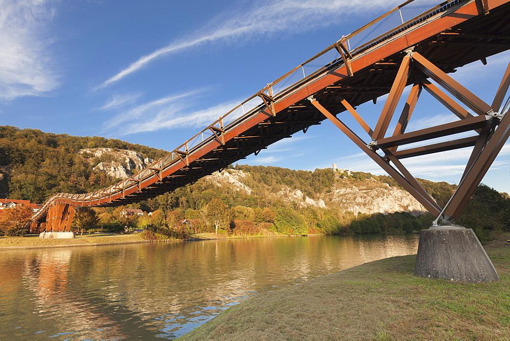 Wooden bridgeTatzelwurm, Main-Donau-Kanal canal, Essing, nature park, Altmuehltal Valley, Bavaria, Germany