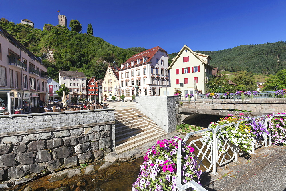 Market place, castle, Hornberg, Gutachtal Valley, Black Forest, Baden Wurttemberg, Germany, Europe