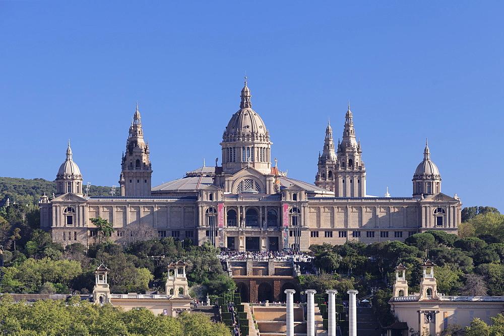 Palau Nacional (Museu Nacional d'Art de Catalunya), Montjuic, Barcelona, Catalonia, Spain, Europe