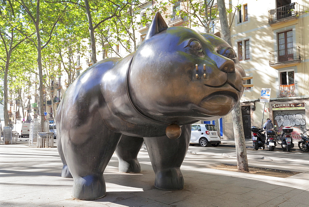 The cat (El Gat) sculpture by Botero, Rambla del Raval, Barcelona, Catalonia, Spain