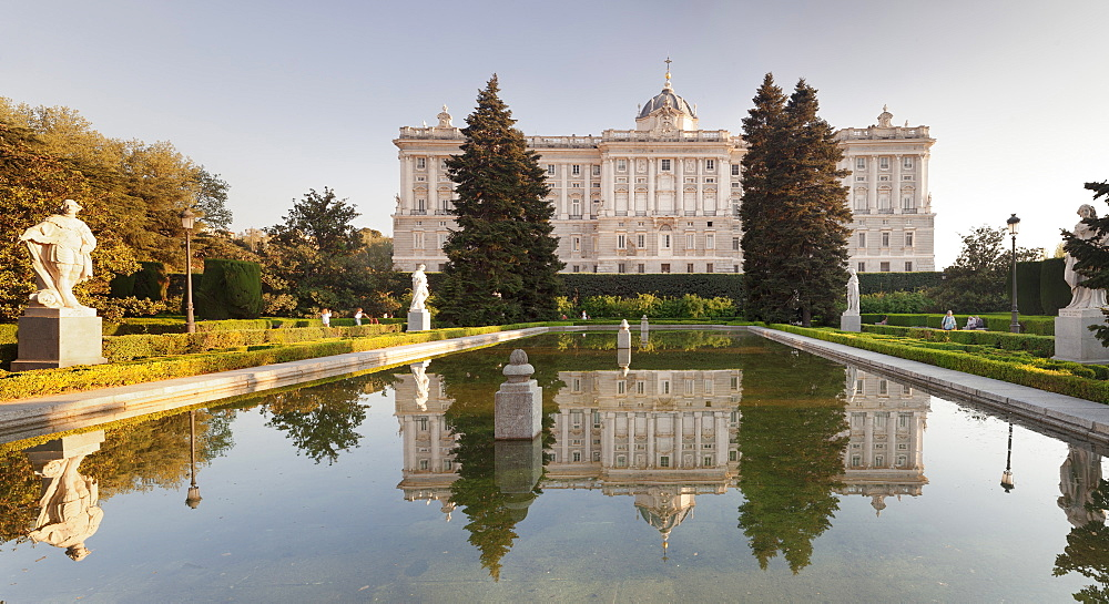 Royal Palace ( Palacio Real), view from Sabatini Gardens (Jardines de Sabatini), Madrid, Spain