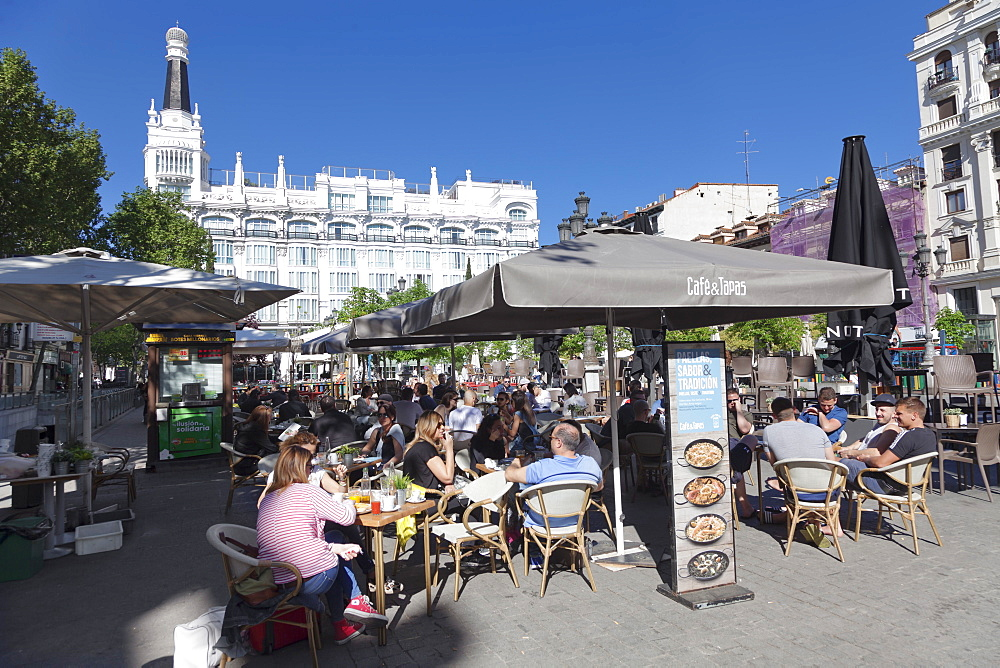 Street cafe at Plaza de Santa Ana, Hotel Reina Victoria, Madrid, Spain, Europe