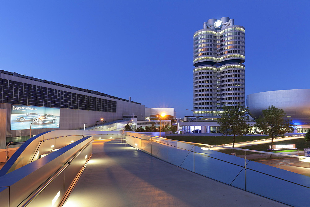 BMW building and BMW Museum, Olympiazentrum, Mittleren Ring, Munich, Bavaria, Germany, Europe