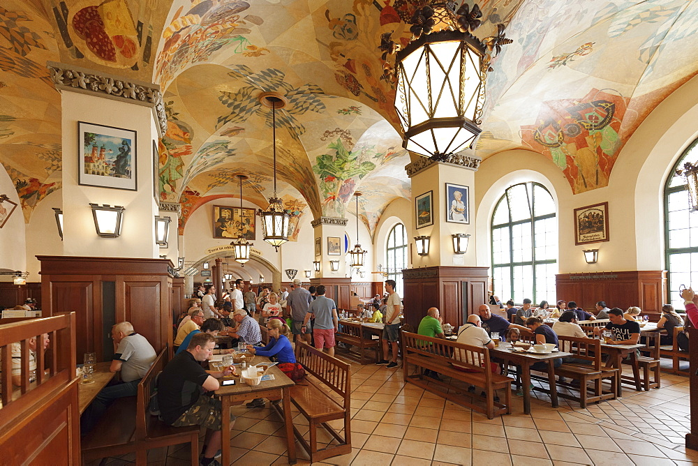 Historic Beer Hall called Schwemme at Hofbraeuhaus, Munich, Bavaria, Germany, Europe