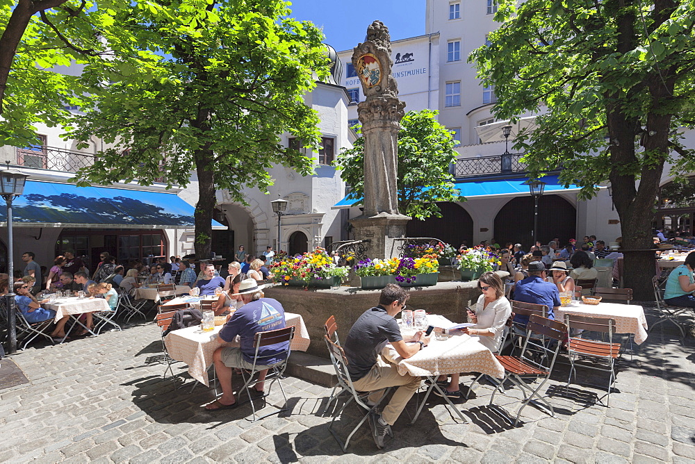 Beer Garden at Hofbraeuhaus, Munich, Bavaria, Germany, Europe
