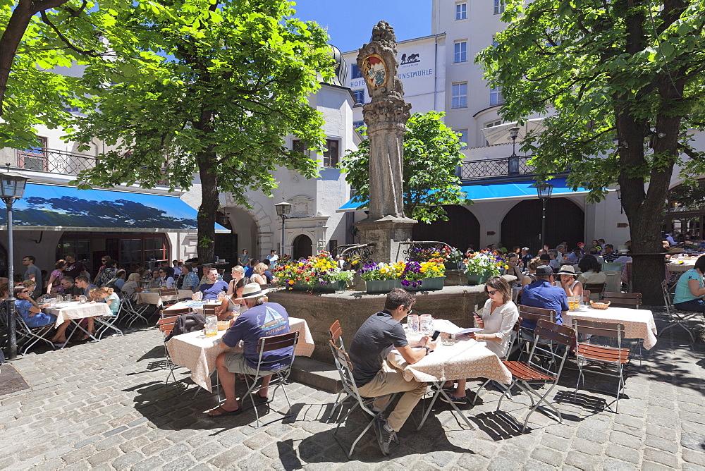 Beer Garden at Hofbraeuhaus, Munich, Bavaria, Germany