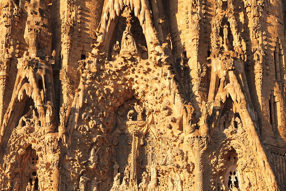 Facade of the Nativity, Sagrada Familia, by architect Antonio Gaudi, UNESCO World Heritage Site, Barcelona, Catalonia, Spain