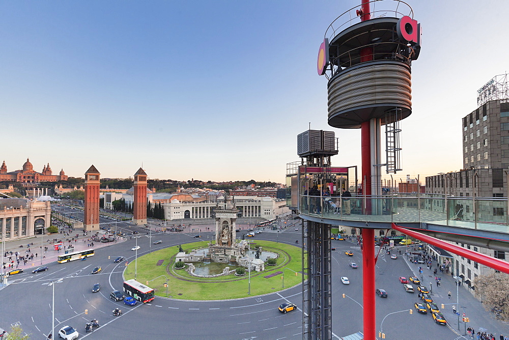 View from Las Arenas shopping center to Placa d'Espanya (Placa de Espana), Barcelona, Catalonia, Spain, Europe