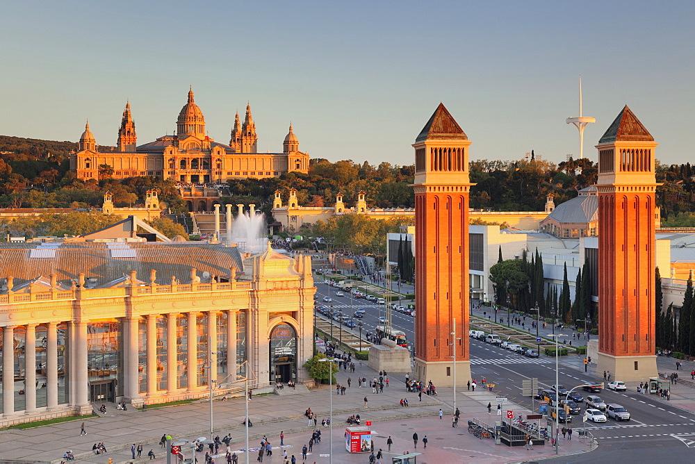 View over Placa d'Espanya (Placa de Espana) to Palau Nacional (Museu Nacional d'Art de Catalunya), Barcelona, Catalonia, Spain, Europe