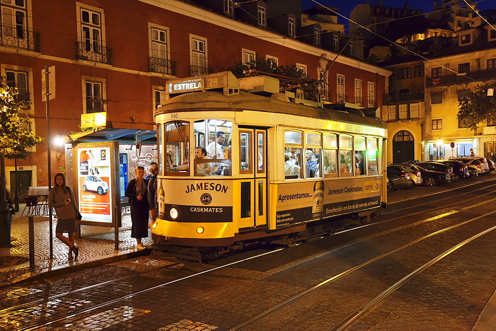 Tram 28, Alfama district, Lisbon, Portugal, Europe