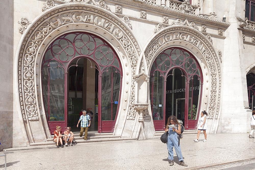 Estacio do Rossio, train station, Manueline Gothic style, Baixa, Lisbon, Portugal, Europe