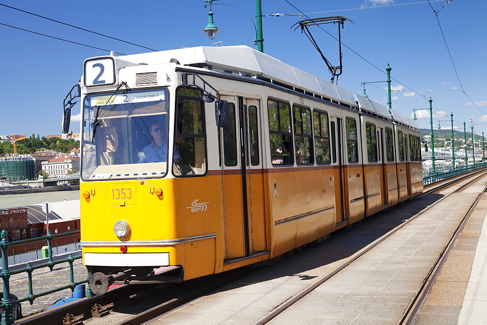 Tram at riverwalk, Pest district, Budapest, Hungary, Europe