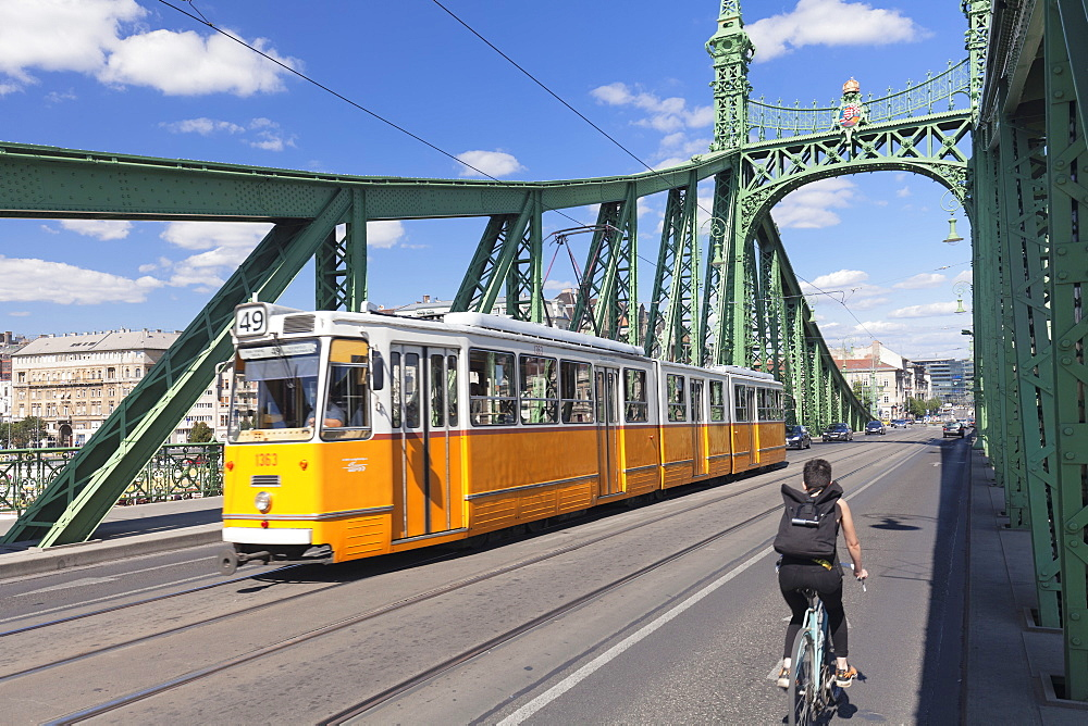 Tram on Liberty Bridge, Budapest, Hungary, Europe