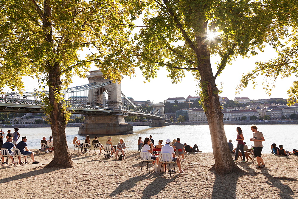 Beach bar at Danube Riverwalk, Chain Bridge, Budapest, Hungary, Europe