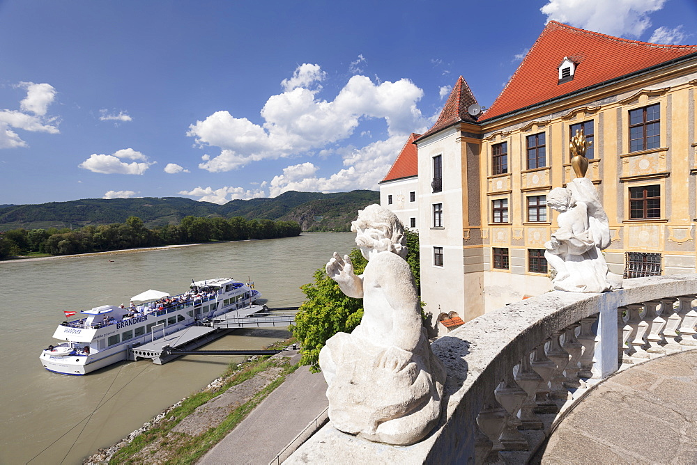 View from Terrace of the Church to Danube River, Collegiate church, Durnstein Abbey, Durnstein, Wachau, Lower Austria, Europe