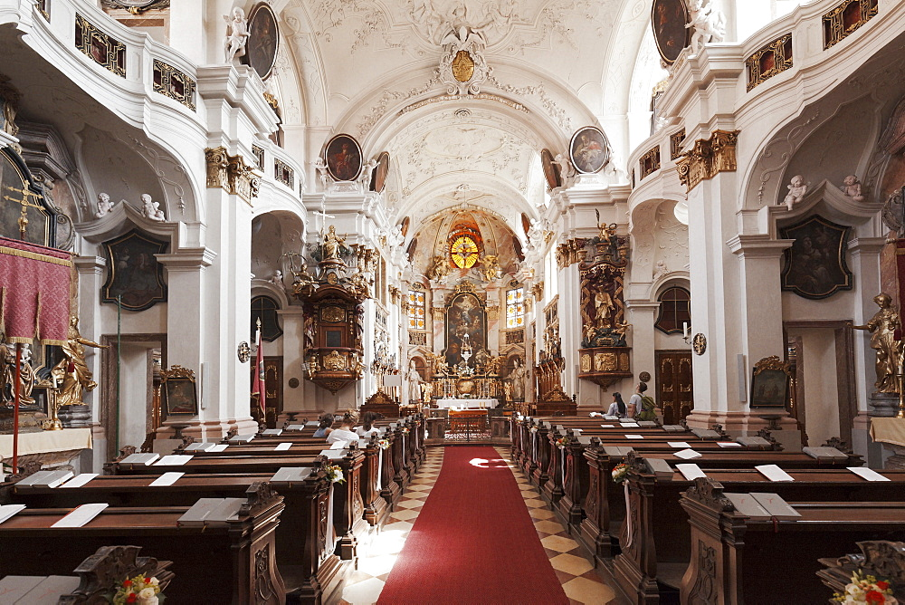 Collegiate church, Durnstein Abbey, Durnstein, Wachau, Lower Austria, Europe