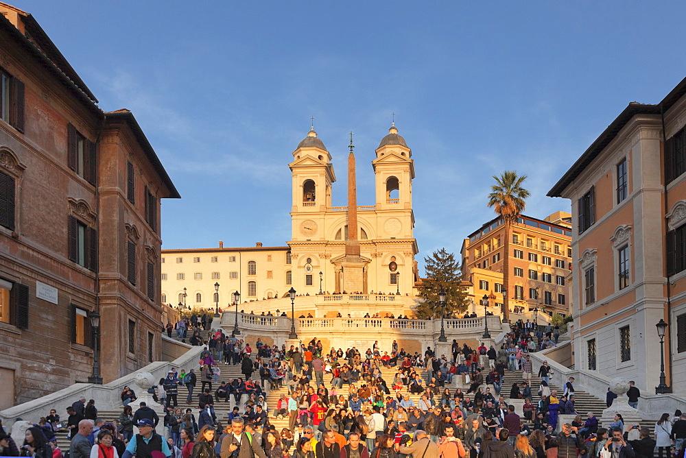 Spanish Steps, Santa Trinita dei Monti church, Piazza di Spagna, Rome, Lazio, Italy, Europe - 1160-3834