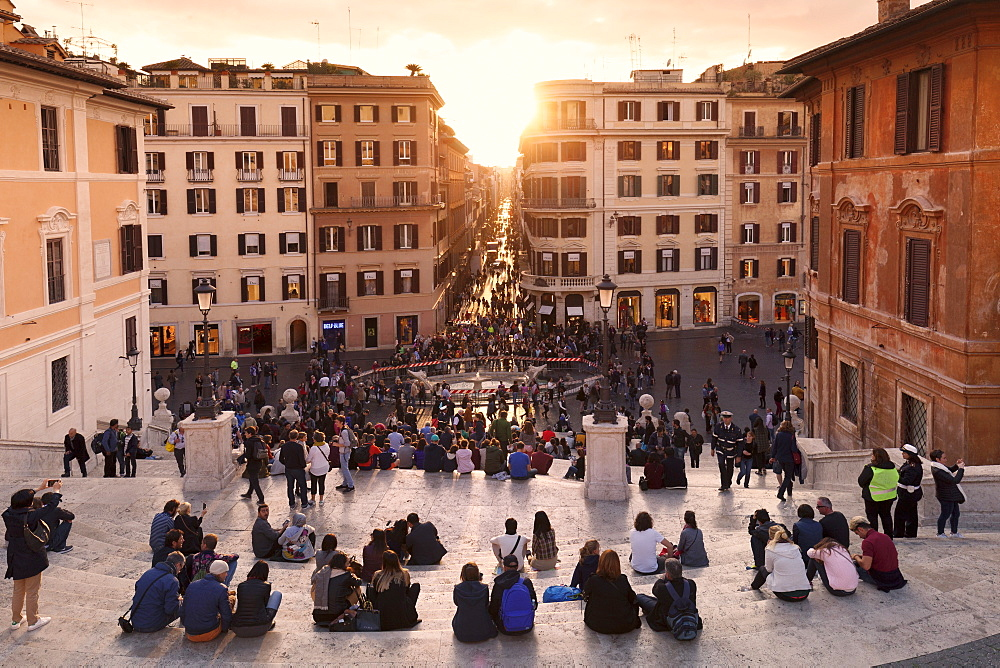View from Spanish Steps, at sunset, Piazza di Spagna, Rome, Lazio, Italy, Europe - 1160-3836