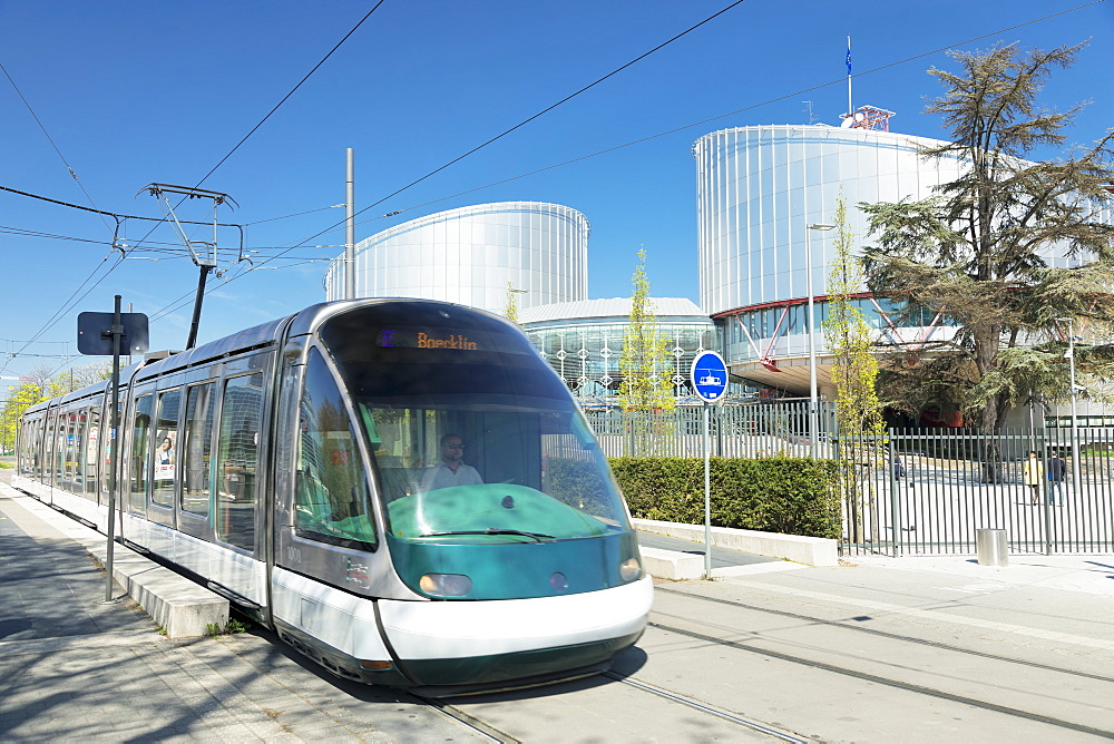 Tram at European Court of Human Rights, Strasbourg, Alsace, France, Europe