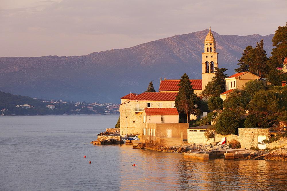 Church in evening light, near Korcula Town, Korcula Island, Dalmatia, Croatia, Europe