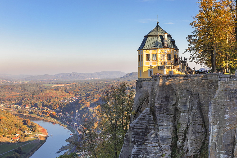 View from Koenigstein Fortress to Elbtal Valley, Saxony Switzerland National Park, Saxony, Germany