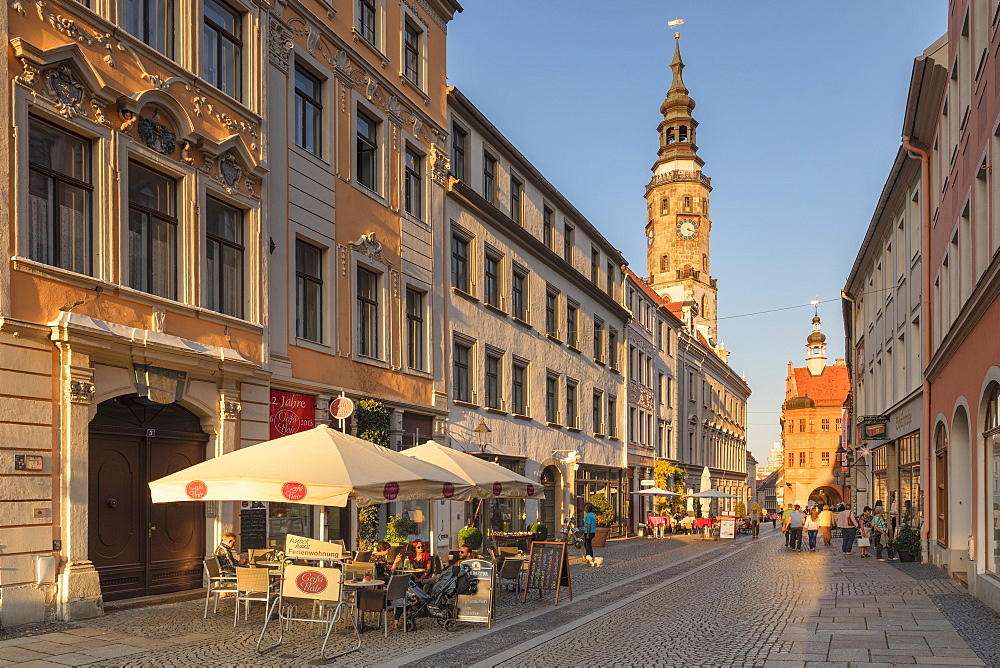 Bruederstrav?e with Tower of the Old Townhall, Goerlitz, Saxony, Germany - 1160-4043