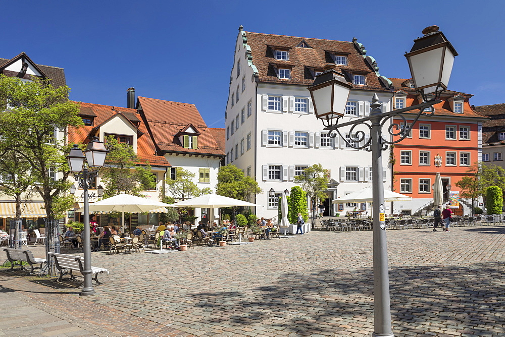 Street Cafe at Schlossplatz Square, Meersburg, Lake Constance, Baden-Wuerttemberg, Germany