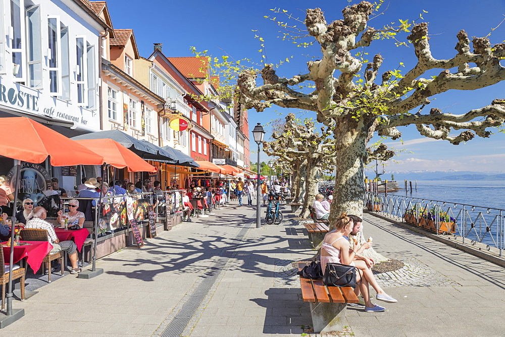 Restaurants at the promenade, Meersburg, Lake Constance, Baden-Wurttemberg, Germany, Europe