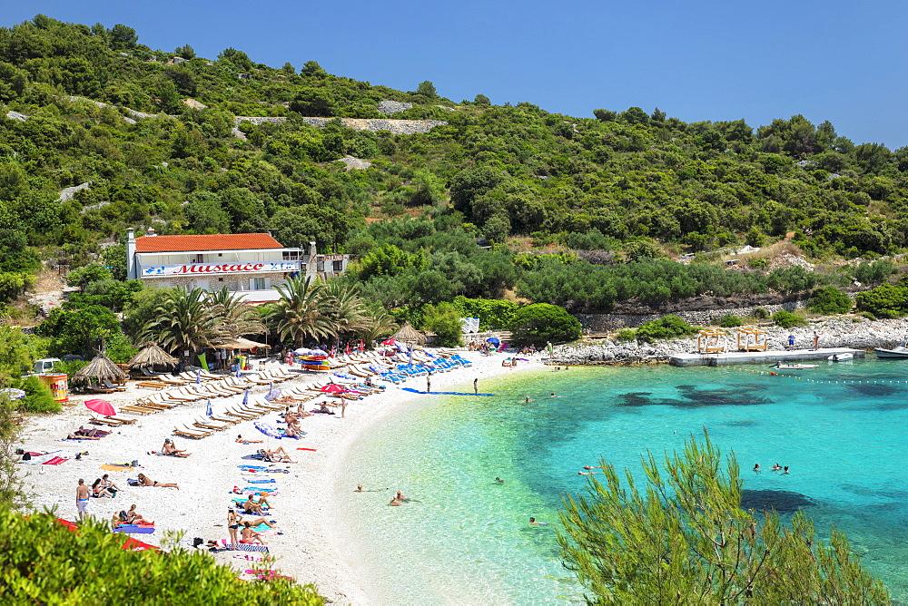 Beach near Hvar town, Hvar Island, Dalmatia, Croatia, Europe
