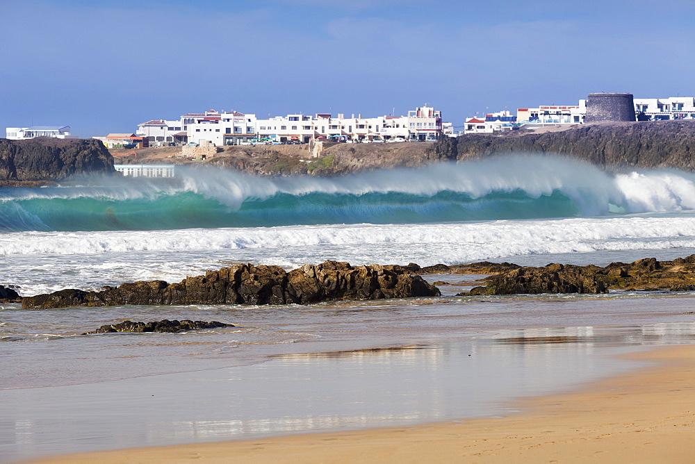 View from Playa del Castillo to El Cotillo, Fuerteventura, Canary Islands, Spain, Atlantic, Europe