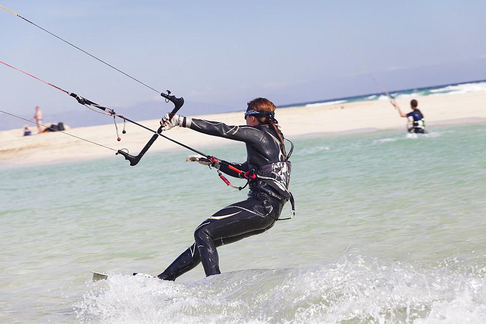 Kitesurfer, Risco del Paso, Fuerteventura, Canary Islands, Spain, Atlantic, Europe