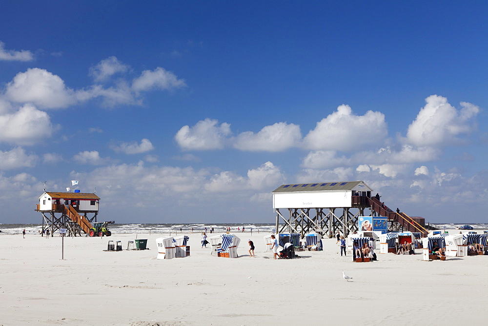 Stilt house and beach chairs on the beach of Sankt Peter Ording, Eiderstedt Peninsula, Schleswig Holstein, Germany, Europe