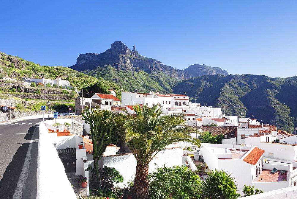 View over Tejeda to Roque Nublo, Gran Canaria, Canary Islands, Spain, Atlantic, Europe