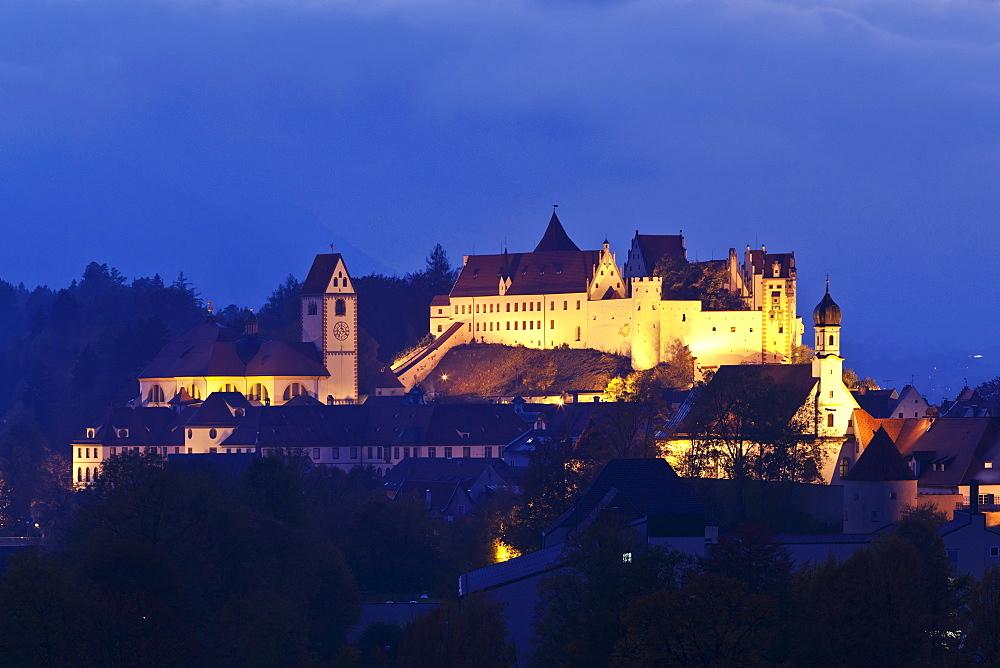 St. Mang's Abbey (Fussen Abbey) and Hohes Schloss Castle, Fussen, Ostallgau, Allgau, Bavaria, Germany, Europe