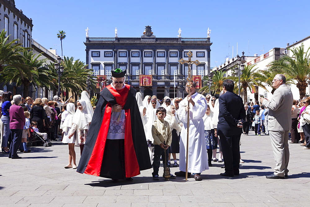 Easter procession in the old town Vegueta, Las Palmas, Gran Canaria, Canary Islands, Spain, Atlantic, Europe