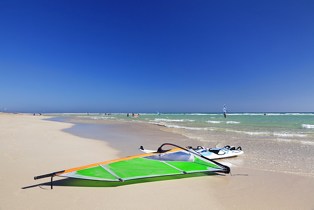 Surfboard at the beach of Risco del Paso, Fuerteventura, Canary Islands, Spain, Atlantic, Europe