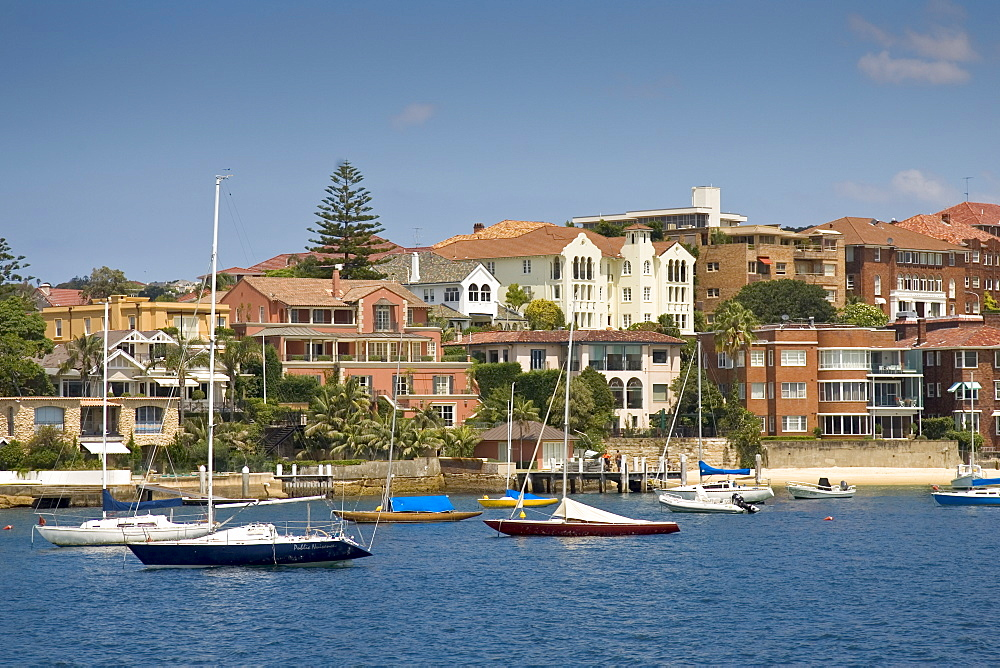 Yachts moored, Sydney Harbour waterfront residences near Point Piper, Double Bay, Australia