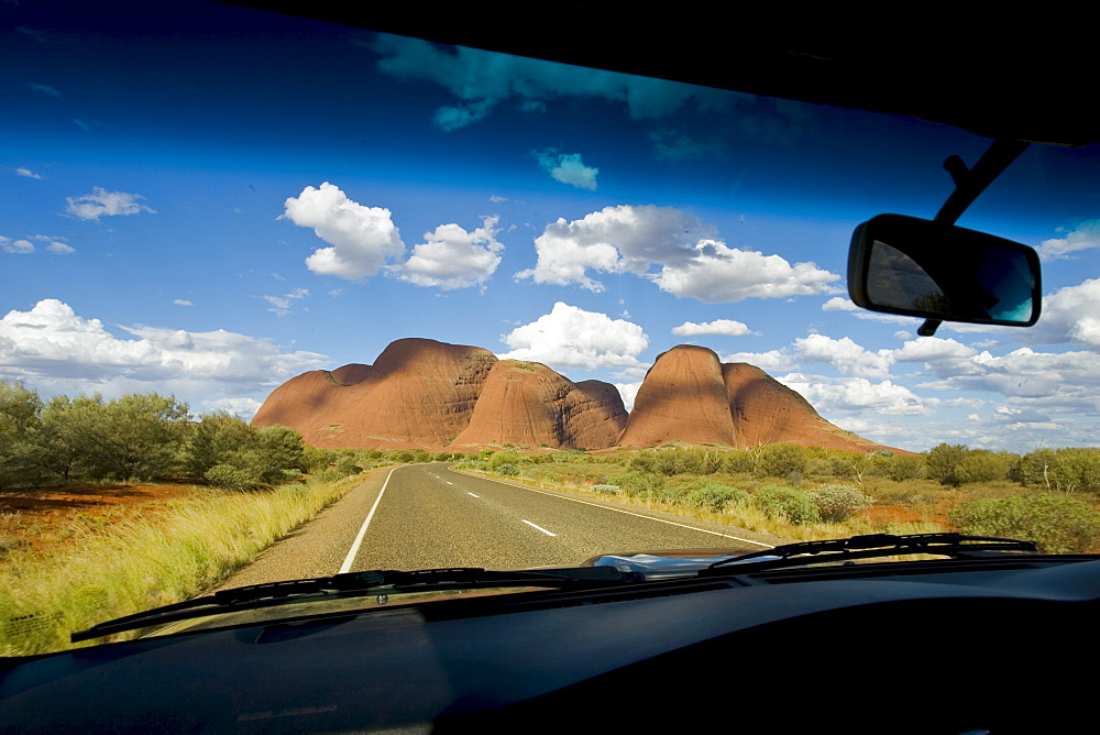 The Olgas, Kata Tjuta seen from inside a car, Red Centre, Australia