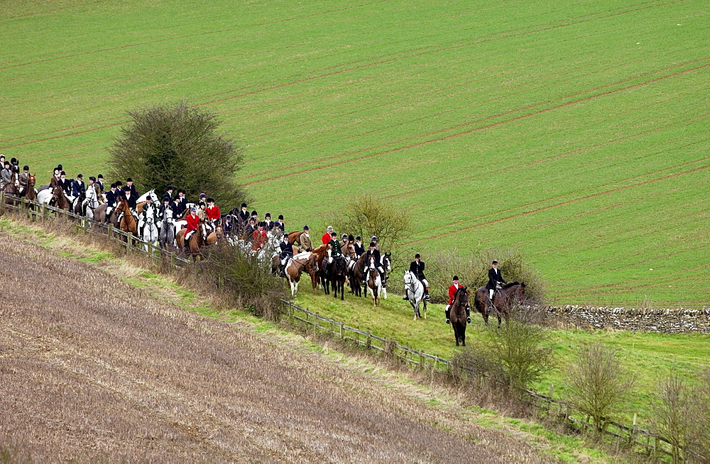 Huntsmen gather for a meet at the Heythrop New Year's Day Hunt, Oxfordshire