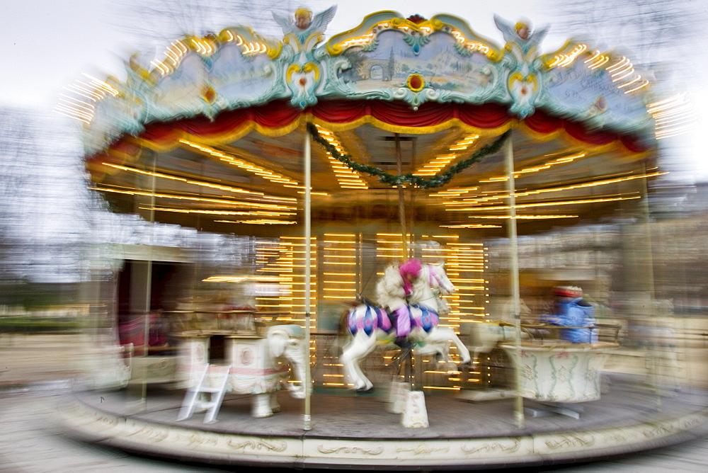 Carousel in Jardin des Tuileries, Central Paris, France