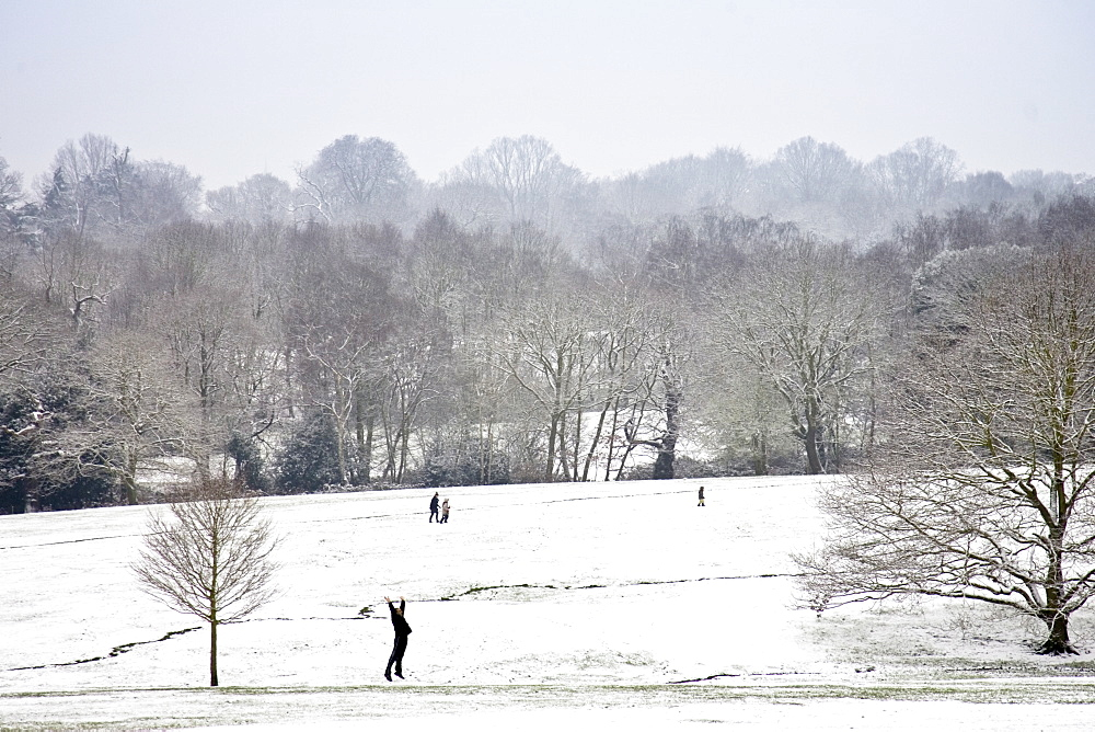 Man exercises in snow-covered Hampstead Heath, North London, England, United Kingdom