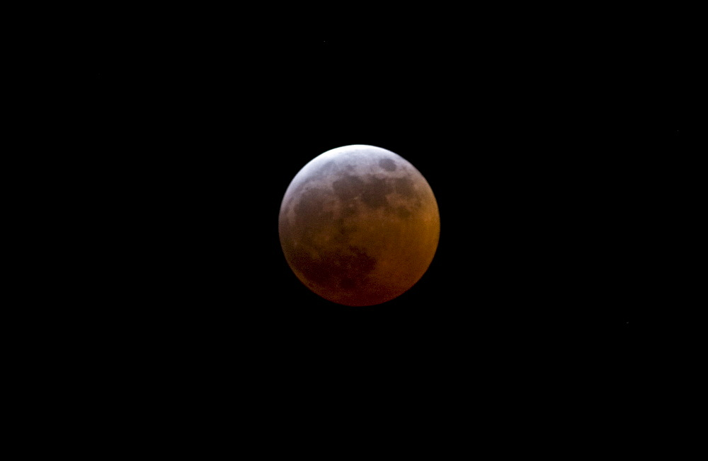 Red moon during eclipse, Southern England, United Kingdom