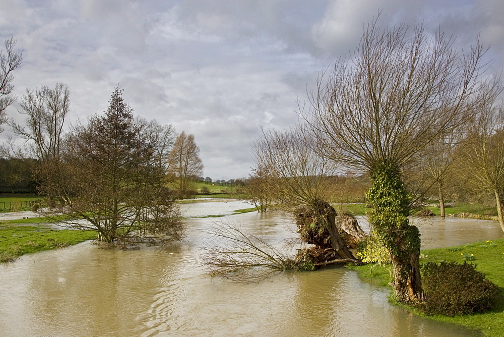 Flooded field in Oxfordshire, The Cotswolds, United Kingdom