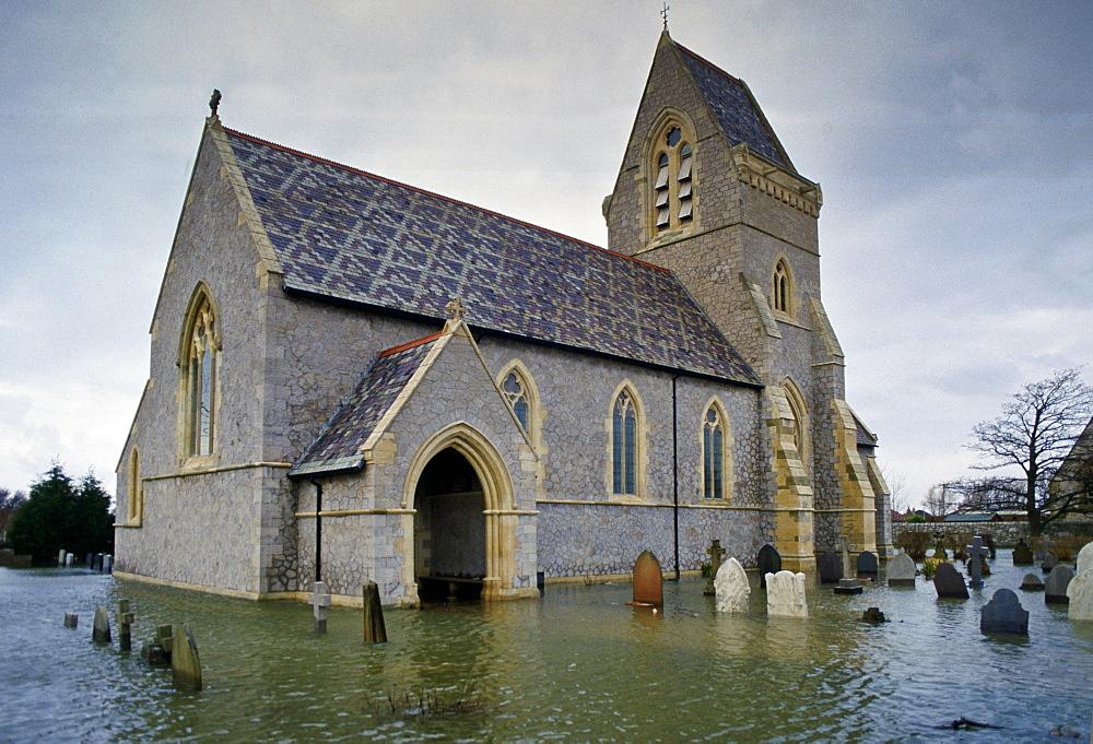 Flooded church and graveyard, United Kingdom