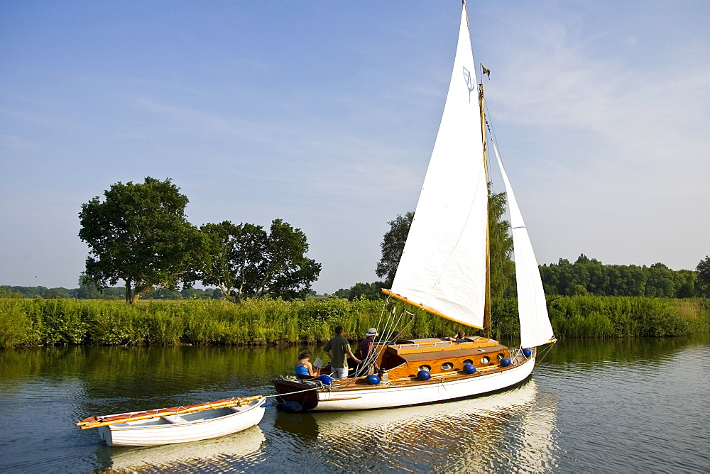 Sailing boat on the Norfolk Broads, United Kingdom