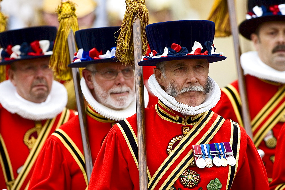 Yeomen of the Guard in traditional livery uniform, England UK