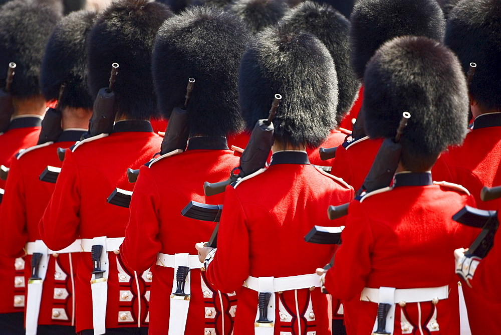Foot Guards of the Household Division march in Military Parade parade, London, UK
